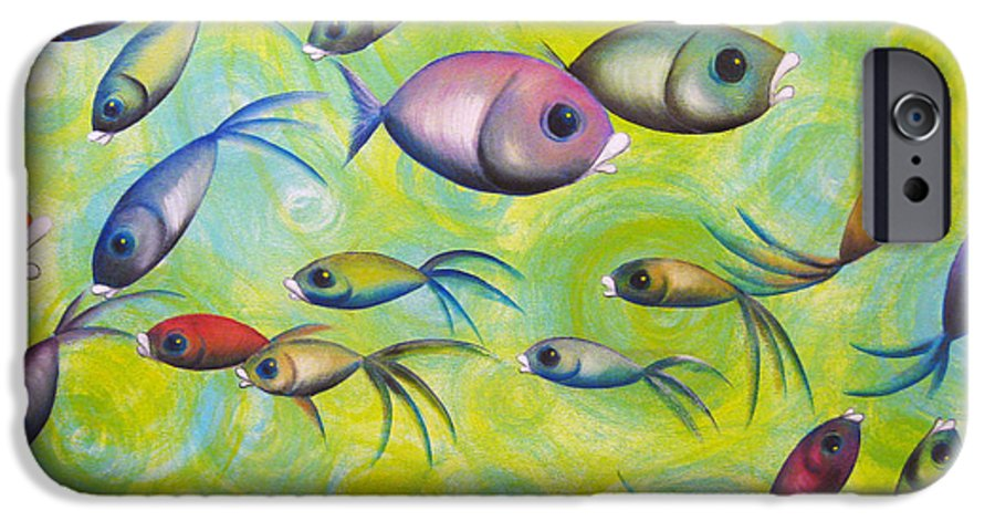 Whimsical Fish IPhone 6s Case featuring the painting Where Are You by Oiyee At Oystudio