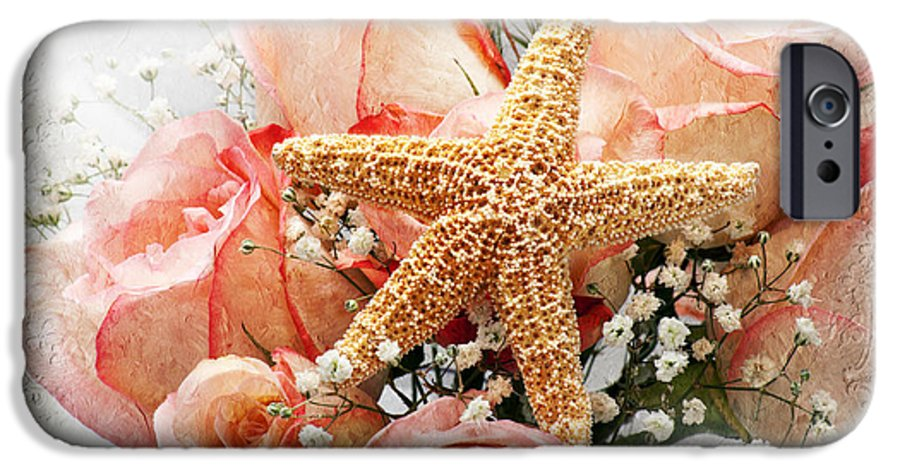 Pink IPhone 6s Case featuring the photograph Starfish And Pink Roses by Andee Design