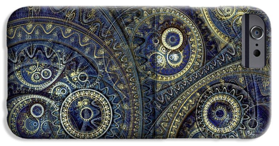Steampunk IPhone 6s Case featuring the digital art Blue Machine by Martin Capek