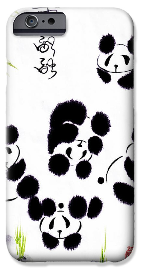 Panda IPhone 6s Case featuring the painting Happiness Is Getting Along by Oiyee At Oystudio
