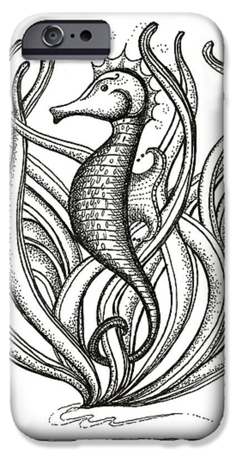 Coastal Art IPhone 6s Case featuring the drawing Seahorse by Stephanie Troxell