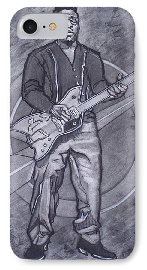 Texas;charcoal;king Of Rock;rock And Roll;music;1950s;blues;musician;funk;electric Guitar;marble;soul IPhone 7 Case featuring the drawing Bo Diddley - Have Guitar Will Travel by Sean Connolly