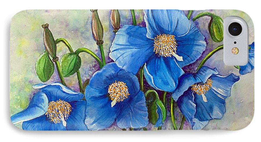 Blue Hymalayan Poppy IPhone 7 Case featuring the painting Meconopsis  Himalayan Blue Poppy by Karin Dawn Kelshall- Best