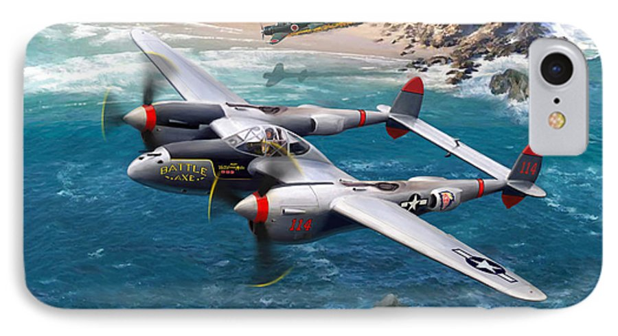 Airplanes IPhone 7 Case featuring the painting P-38 Lightning Battle Axe by Mark Karvon