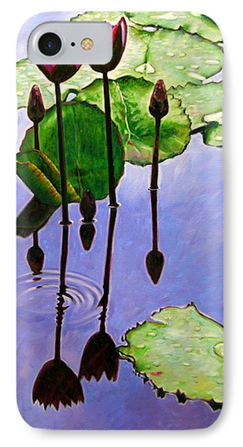 Rose Colored Water Lilies After A Morning Shower With Dark Reflections And Water Ripple. IPhone 7 Case featuring the painting After The Shower by John Lautermilch