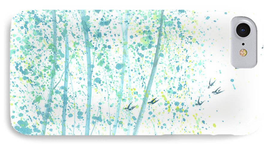 Birds Flying Through An Aspen Forest. This Is A Contemporary Chinese Ink And Color On Rice Paper Painting With Simple Zen Style Brush Strokes. IPhone 7 Case featuring the painting Aspen Forest by Mui-Joo Wee