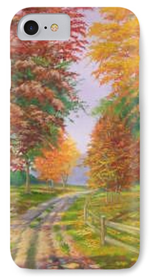 Fall Scene IPhone 7 Case featuring the painting Autumn Drive by Tan Nguyen