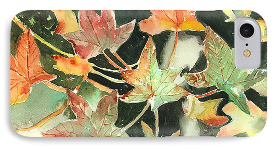 Leaf IPhone 7 Case featuring the painting Autumn Leaves by Arline Wagner