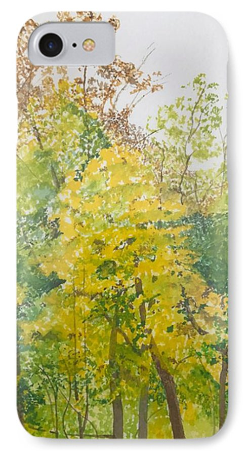 Autumn IPhone 7 Case featuring the painting Backyard by Leah Tomaino