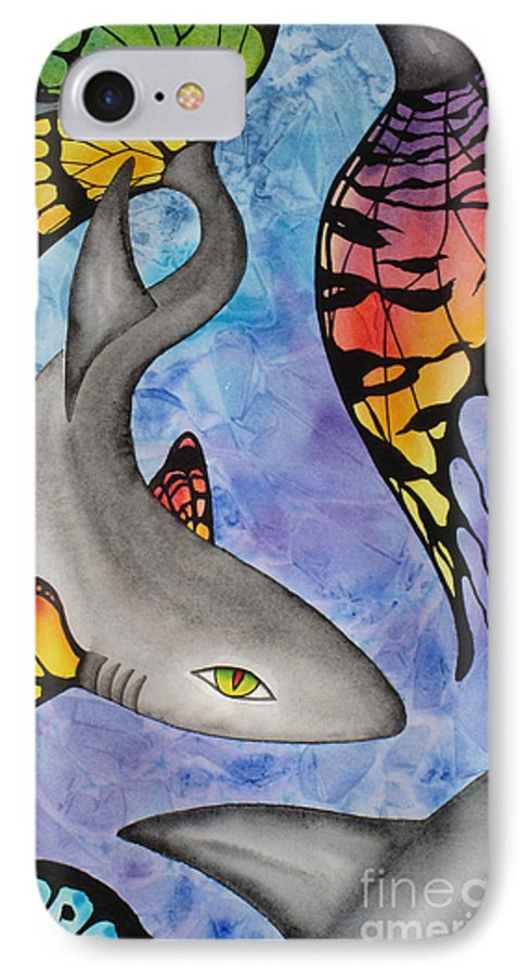 Surreal IPhone 7 Case featuring the painting Beauty In The Beasts by Lucy Arnold