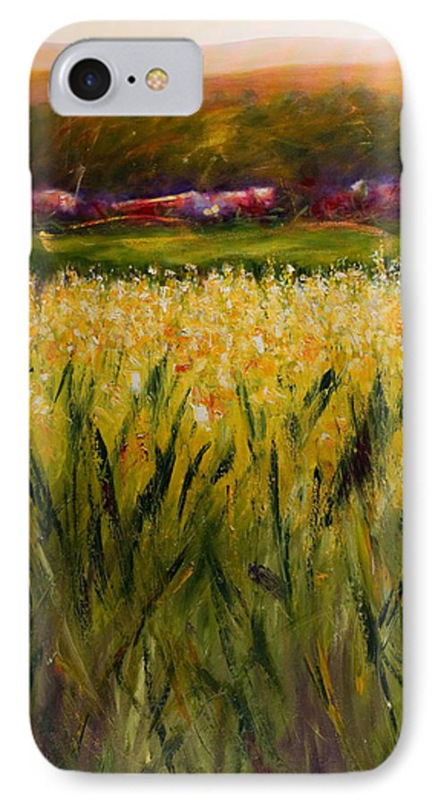 Landscape IPhone 7 Case featuring the painting Beyond The Valley by Shannon Grissom