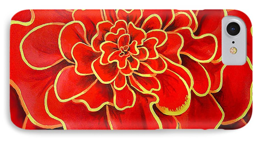 Diptych IPhone 7 Case featuring the painting Big Red Flower by Geoff Greene