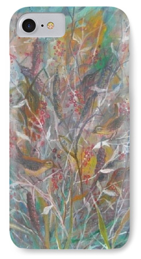 Birds IPhone 7 Case featuring the painting Birds In A Bush by Ben Kiger