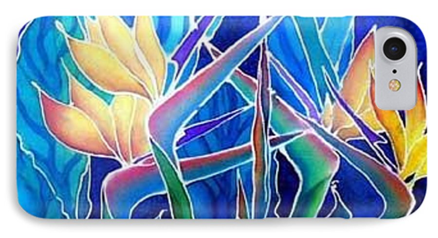 Silks IPhone 7 Case featuring the painting Birds Of Paradise by Francine Dufour Jones