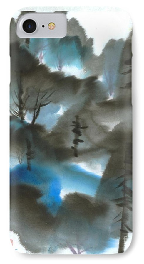 A Forest With A Tint Of Blue. This Is A Contemporary Chinese Ink And Color On Rice Paper Painting With Simple Zen Style Brush Strokes.  IPhone 7 Case featuring the painting Blue Forest by Mui-Joo Wee