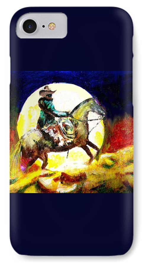 Canyon Moon IPhone 7 Case featuring the painting Canyon Moon by Seth Weaver