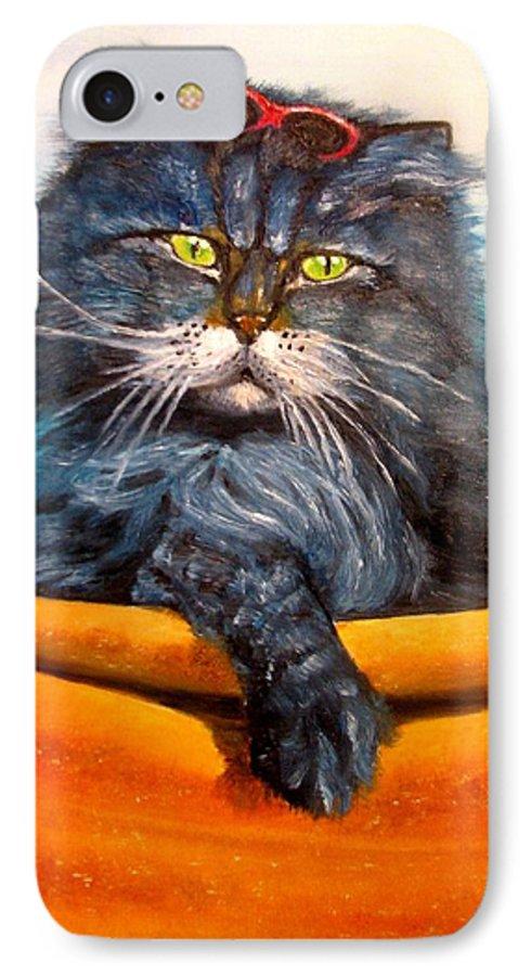Cat IPhone 7 Case featuring the painting Cat.go To Swim.original Oil Painting by Natalja Picugina