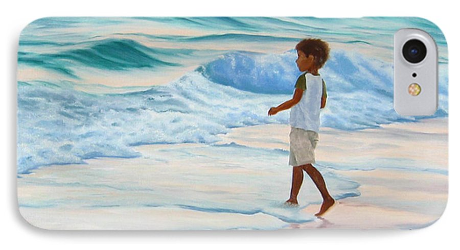 Child IPhone 7 Case featuring the painting Chasing The Waves by Lea Novak