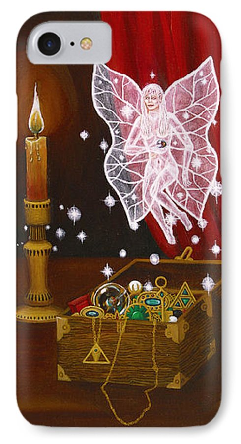 Fairy IPhone 7 Case featuring the painting Fairy Treasure by Roz Eve