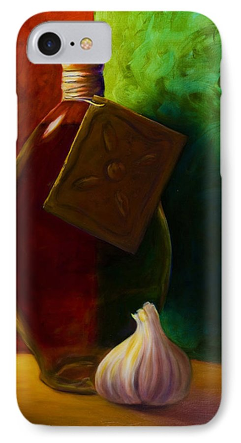 Shannon Grissom IPhone 7 Case featuring the painting Garlic And Oil by Shannon Grissom