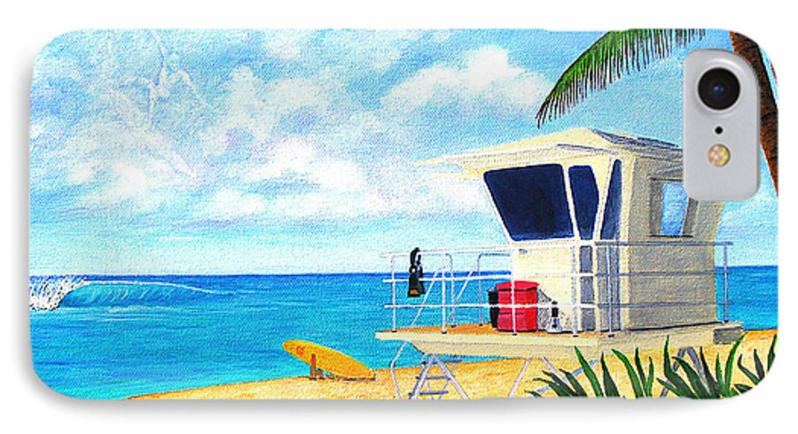 Hawaii IPhone 7 Case featuring the painting Hawaii North Shore Banzai Pipeline by Jerome Stumphauzer