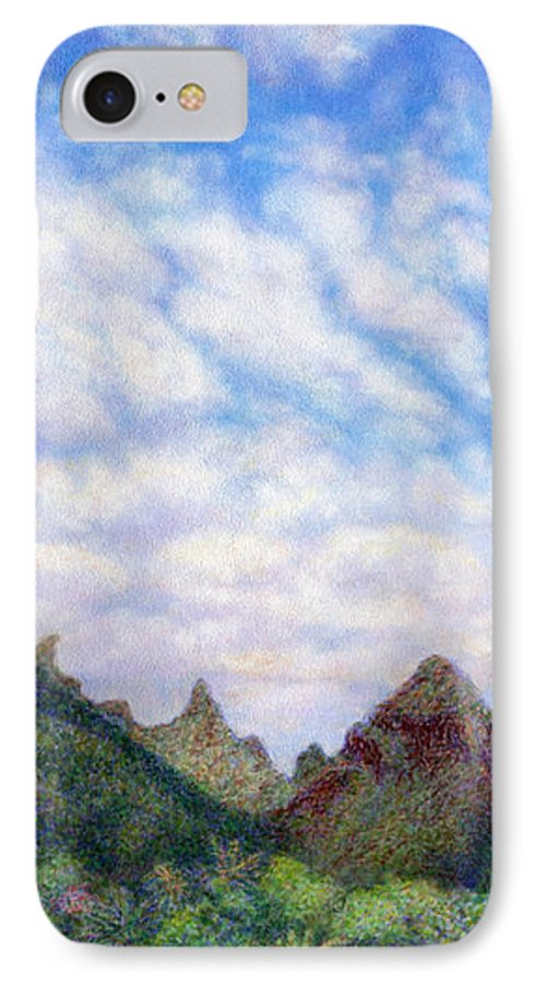 Coastal Decor IPhone 7 Case featuring the painting Island Sky by Kenneth Grzesik