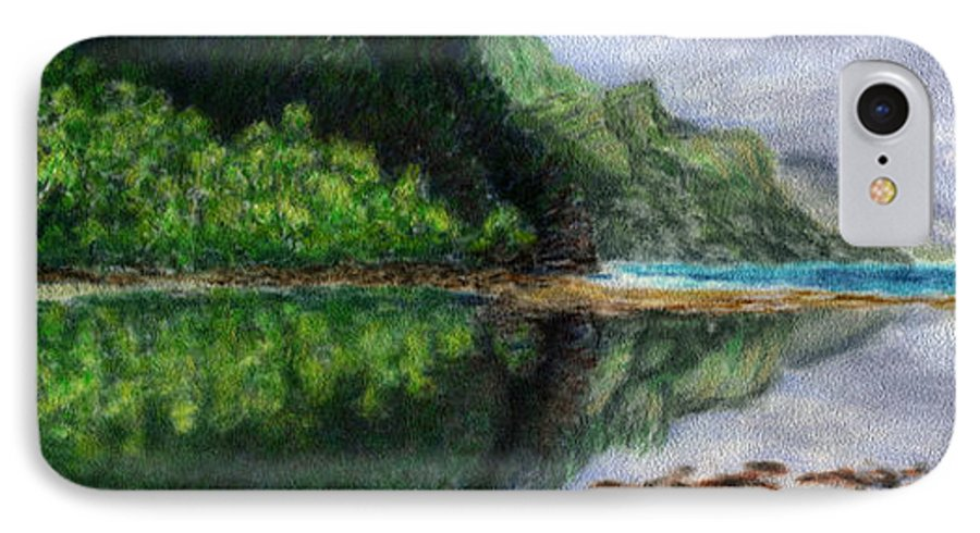 Rainbow Colors Pastel IPhone 7 Case featuring the painting Ke'e by Kenneth Grzesik