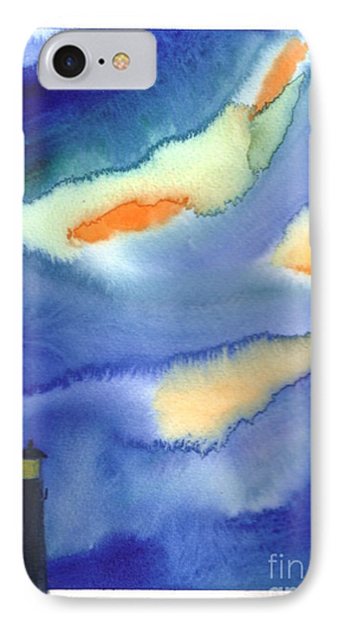 A Lighthouse In A Beautiful Stormy Night. This Is A Contemporary Watercolor Painting. IPhone 7 Case featuring the painting Lighthouse by Mui-Joo Wee