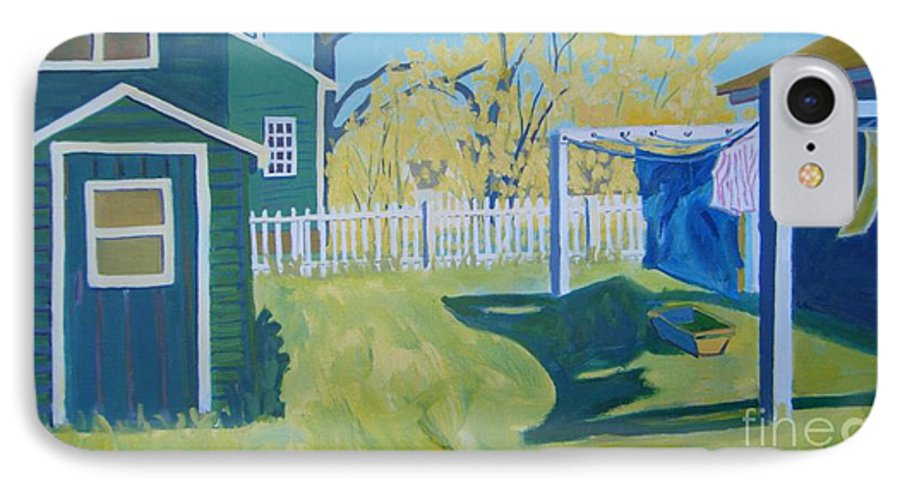 Backyard IPhone 7 Case featuring the painting Line Of Wash by Debra Robinson