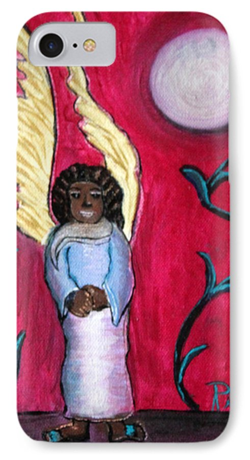 Beautiful Black Angel With Long Gold Wings IPhone 7 Case featuring the painting Little Angel by Pilar Martinez-Byrne