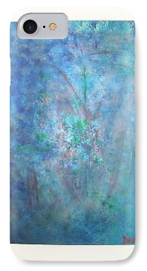 Metal IPhone 7 Case featuring the painting Metal And Water Abstract. by Lizzy Forrester