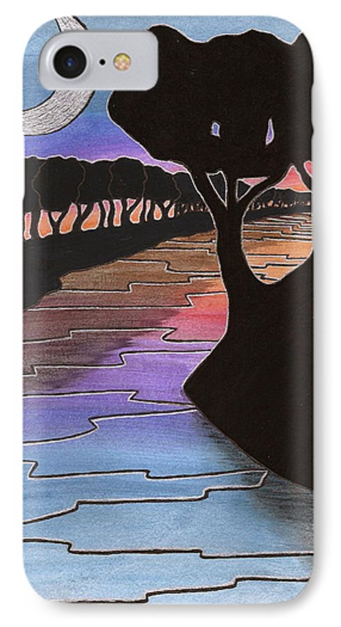 IPhone 7 Case featuring the painting Moonlight River by Michele Bullock
