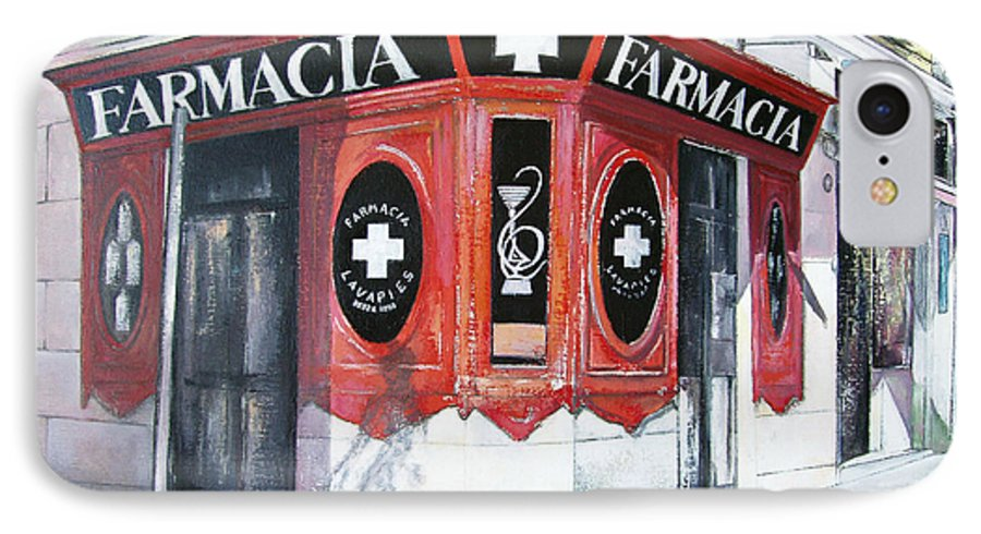 Pharmacy IPhone 7 Case featuring the painting Old Pharmacy by Tomas Castano