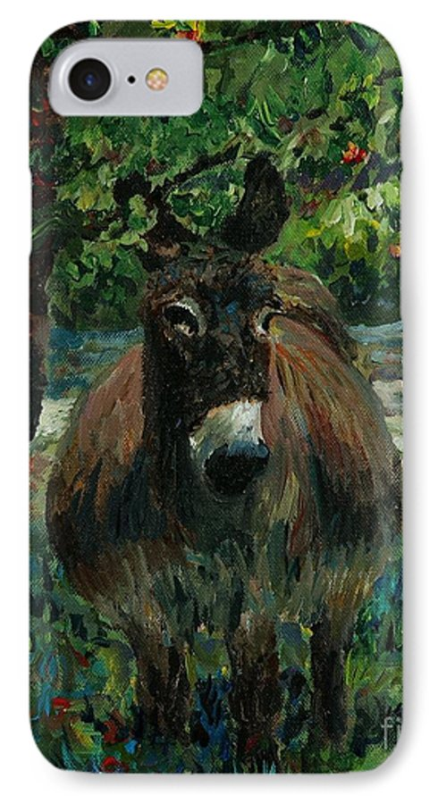 Donkey IPhone 7 Case featuring the painting Provence Donkey by Nadine Rippelmeyer