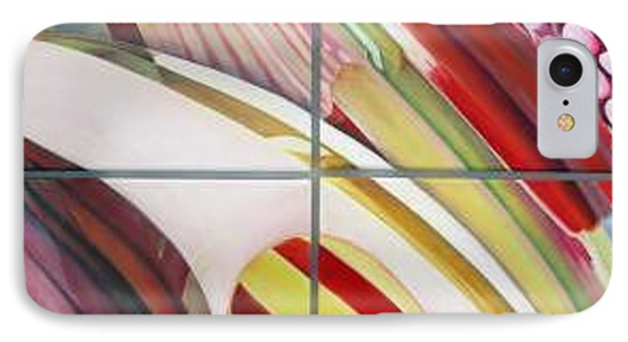 Abstract IPhone 7 Case featuring the painting Sens by Muriel Dolemieux
