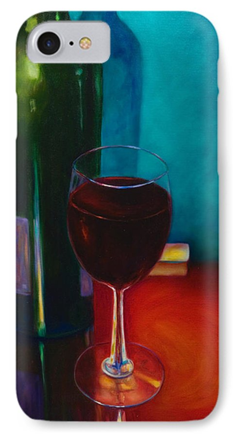 Wine Bottle IPhone 7 Case featuring the painting Shannon's Red by Shannon Grissom