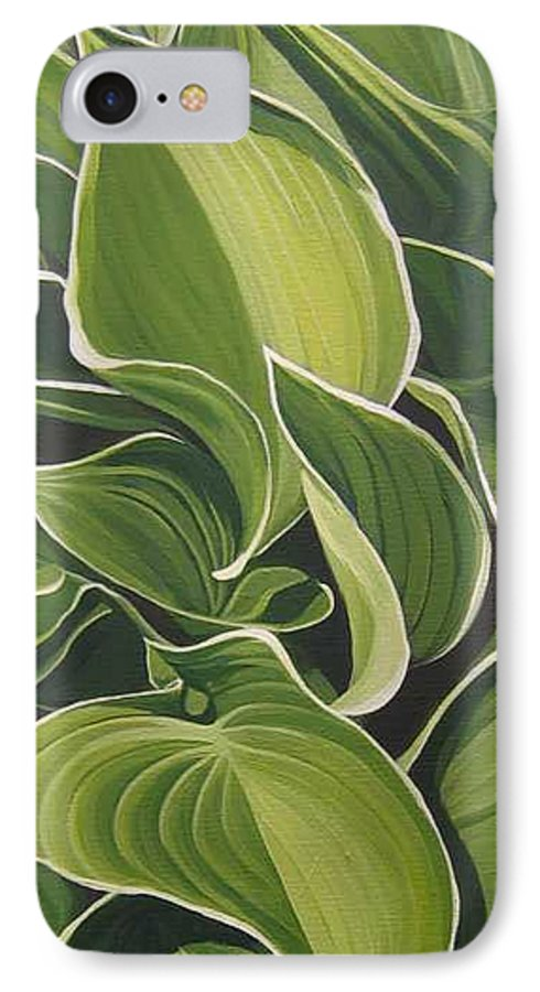 Closeup Of Hosta Plant IPhone 7 Case featuring the painting Shapes That Go Together by Hunter Jay
