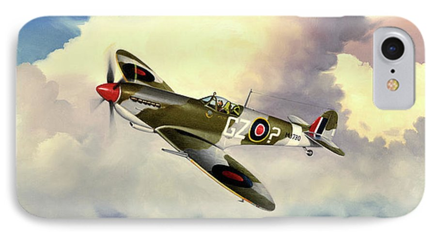 Military IPhone 7 Case featuring the painting Spitfire by Marc Stewart