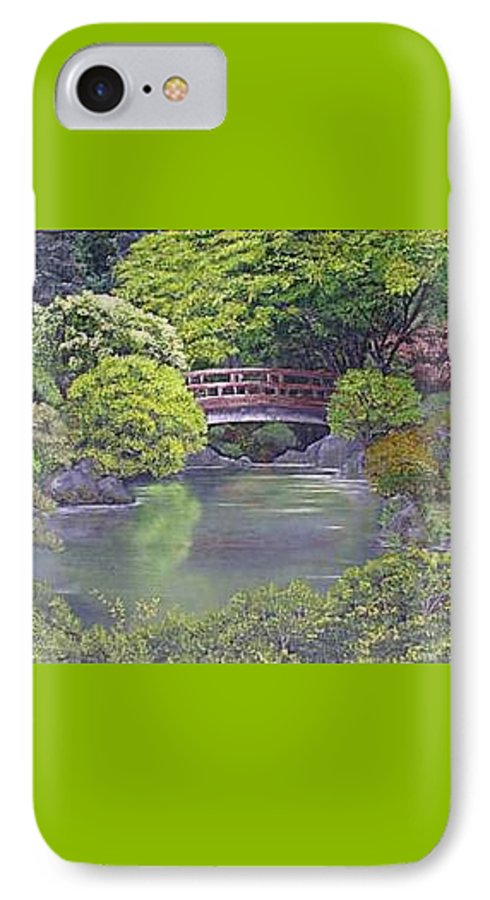 This Peaceful Scene Is An Artist's Rendition Of The Japanese Gardens IPhone 7 Case featuring the painting Tranquility by Darla Boljat
