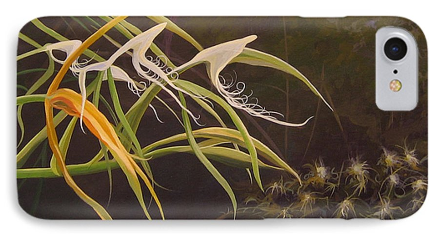 Caribbean IPhone 7 Case featuring the painting Wild Orchids by Hunter Jay