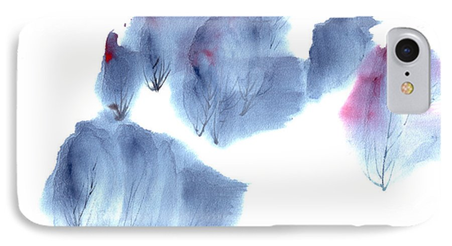 Waving Trees In A Forest On A Windy Day. This Is A Contemporary Chinese Ink And Color On Rice Paper Painting With Simple Zen Style Brush Strokes.  IPhone 7 Case featuring the painting Windy Forest by Mui-Joo Wee