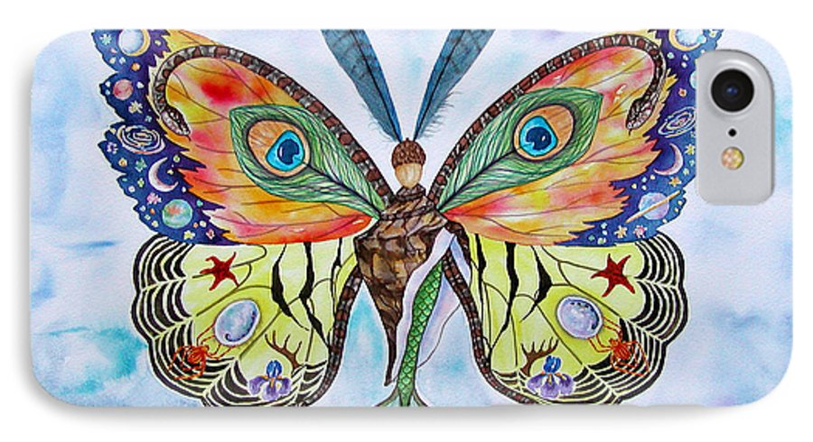 Butterfly IPhone 7 Case featuring the painting Winged Metamorphosis by Lucy Arnold