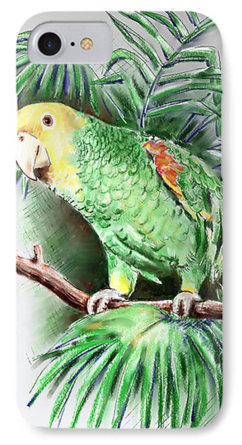 Bird IPhone 7 Case featuring the digital art Yellow-headed Amazon Parrot by Arline Wagner