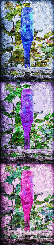 Glass Poster featuring the photograph Triptych Cobalt Blue Purple And Magenta Bottles Triptych Vertical by Andee Design
