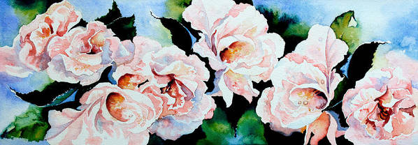 Pink Roses Poster featuring the painting Garden Roses by Hanne Lore Koehler