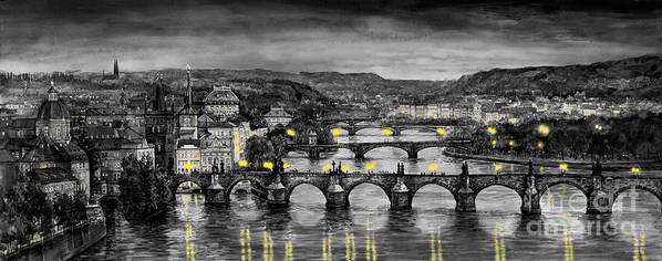 Prague Poster featuring the painting Bw Prague Bridges by Yuriy Shevchuk