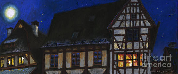 Pastel Poster featuring the painting Germany Ulm Fischer Viertel Moonroofs by Yuriy Shevchuk