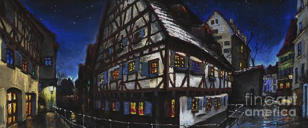 Pastel Poster featuring the painting Germany Ulm Fischer Viertel Schwor-haus by Yuriy Shevchuk