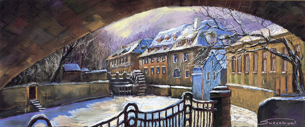 Pastel Poster featuring the painting Prague Chertovka Winter 01 by Yuriy Shevchuk