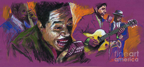 Jazz Poster featuring the pastel Jazz Songer by Yuriy Shevchuk